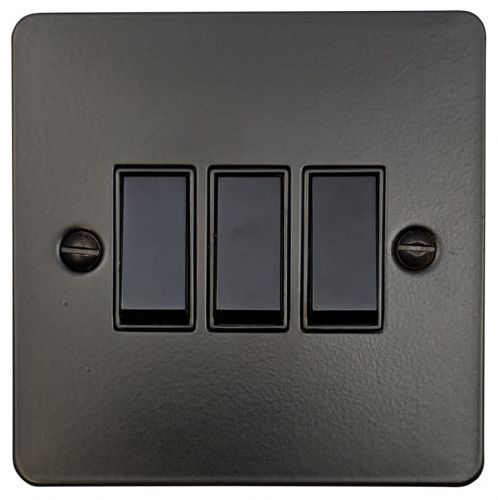 G&H FFB3B Flat Plate Matt Black 3 Gang 1 or 2 Way Rocker Light Switch
